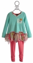Hannah Banana Girls Tunic and Legging with Chiffon Hem