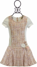 Hannah Banana Girls Tweed Dress with Flowers