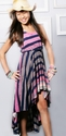 Hannah Banana Hi-Low Pink Ombre Stripe Dress for Tweens