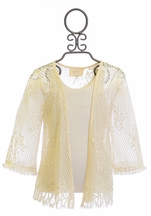 Hannah Banana Kimono for Girls in White Lace