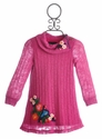 Hannah Banana Pink Sweater Dress with Embroidery