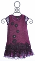 Hannah Banana Purple Dress for Girls with Lace Hem