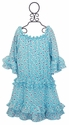 Hannah Banana Turquoise Ruffle Trimmed Girls Dress