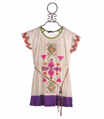 Hannah Banana Tween Batwing Dress with Bright Tribal Print
