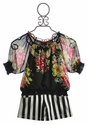 Hannah Banana Tween Black Stripe Short with Floral Top