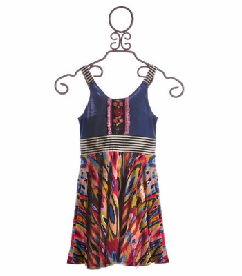 Hannah Banana Tween Summer Dress Blue Stripes