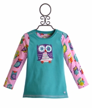 Hatley Little Girls T-Shirt with Owl in Teal (2,7,8)