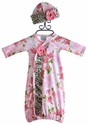 Haute Baby Amys Garden Floral Infant Gown and Hat
