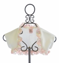 Haute Baby Butter Creme Satin Shrug with Ruffle Trim
