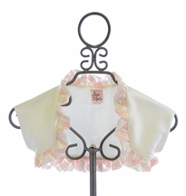 Haute Baby Butter Creme Satin Shrug with Ruffle Trim (2T,4,8)