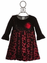 Haute Baby Dots of Fun Girls Velvet Holiday Dress