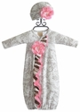 Haute Baby Dream Newborn Gown and Hat in Toile
