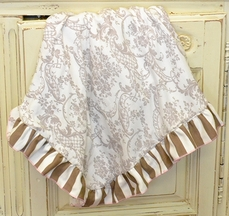 Haute Baby Dream Puff Baby Blanket in Brown Damask