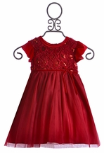 Haute Baby Frilly Christmas Dress for Toddlers Ruby (12Mos,3T,4T)