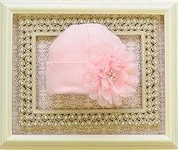 Haute Baby Hat with Pink Pearls and Flowers for Baby (Size 0-3Mos)