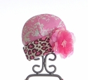 Haute Baby Infant Pink Hat with Leopard Trim