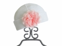 Haute Baby Infant White Hat with Pink Flower