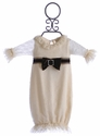 Haute Baby Ivory Baby Gown Holiday Dots