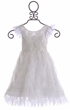 Haute Baby Little Girls Fancy White Feather Dress