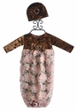 Haute Baby Newborn Gown in Mocha Velvet with Hat