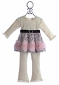 Haute Baby Party Tunic for Little Girls with Rosettes (Size 3T & 4T)