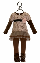 Haute Baby Pink and Brown Lace Outfit for Girls
