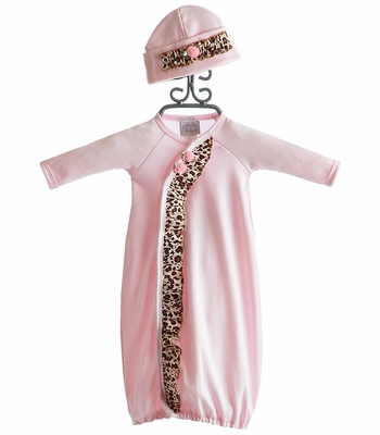 Haute Baby Pink and Leopard Newborn Gown with Hat