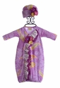 Haute Baby Purple Baby Gown and Cap Paisley Fun