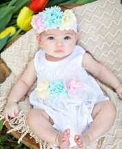 Haute Baby Sunsuit with Flowers Ella's Bouquet (6-9Mos,12Mos,24Mos)
