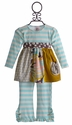 Haute Baby Tunic Set for Little Girls Aqua Stripe (12 Mos & 4T)