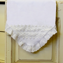 Haute Baby White Baby Blanket with Eyelet Trim