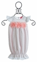 Haute Baby White Baby Gown with Pink Flowers