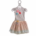 Hopscotch Girls Blue Spring Skirt and Grey Top Set