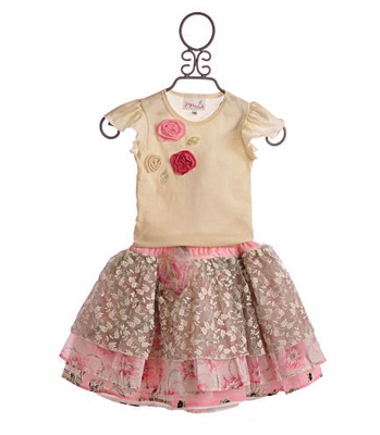 Hopscotch Girls Spring Skirt and Ivory Rosette Top