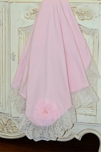 Haute Baby Pink Baby Blanket with Ivory Lace