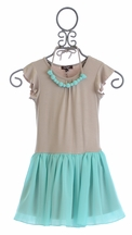 Imoga Girls Dress with Tulle Skirt and Necklace (Size 10)