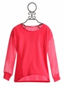 Isaac Mizrahi Fuchsia Tween Top with Sheer Sleeves