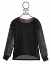 Isaac Mizrahi Sheer Tween Top in Black