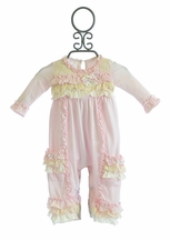 Isobella and Chloe Baby Girls Romper Belle Pink (9Mos & 12Mos)
