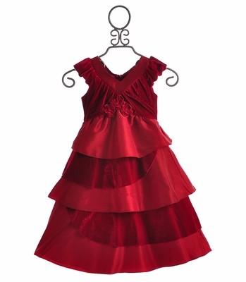 Isobella and Chloe Bejeweled Red Girls Holiday Dress