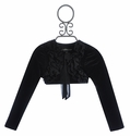 Isobella and Chloe Black Bolero Girls Shrug in Velour