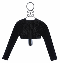 Isobella and Chloe Black Bolero Girls Shrug in Velour (Size 12 Mos)
