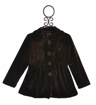 Isobella and Chloe Brown Velvet Winter Coat for Girls (7 & 12)