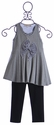 Isobella and Chloe Casual Girls Tunic and Legging in Gray (2T,3T,4,6)