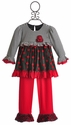 Isobella and Chloe Cherry Dots Little Girls Tunic and Pant