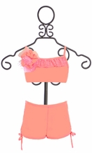 Isobella and Chloe Coral Crush Boy Short Bikini