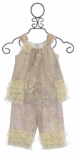 Isobella and Chloe Creme Brulee Little Girls Outfit with Lace