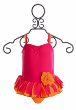 Isobella and Chloe Girls Bathing Suit in Fuchsia (2T,4,6X)