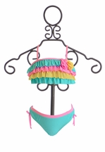 Isobella and Chloe Girls Bikini Sugar Sweet Blue (12Mos,12,14)