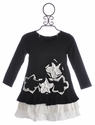 Isobella and Chloe Girls Black Dress Star Flower Ruffles
